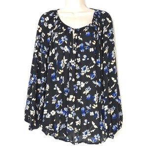 Vince Camuto Sheer Keyhole Top Shirt Women Size XL